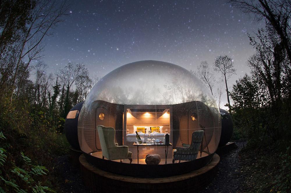 Cupole della foresta, Irlanda del Nord Cupola della foresta bubble room in europa bubble room irlanda